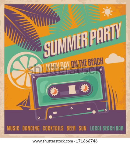 Summer party retro poster vector design. Beach party vintage flyer or ad template.  - stock vector