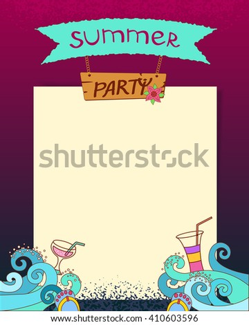 Summer party. Vector cartoon hand drawn background with sea waves and cocktails.