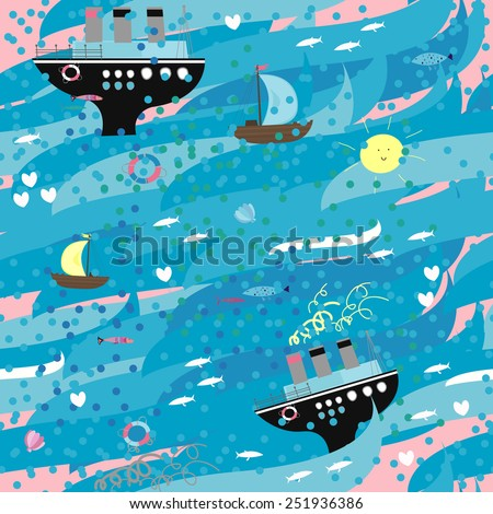Summer pattern with sea and different ships. Vector funny illustration. - stock vector