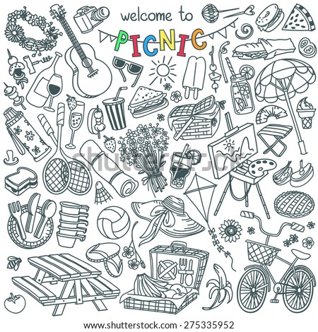 Summer picnic doodle set. Various meals, drinks, objects, sport activities.  Vector illustration isolated over white background. - stock vector