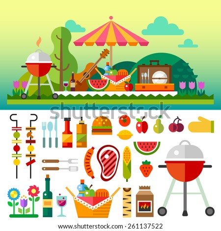 Summer picnic in meadow with flowers: umbrella, guitar, basket with food, fruits, barbecue. Vector flat  illustrations and set of element - stock vector