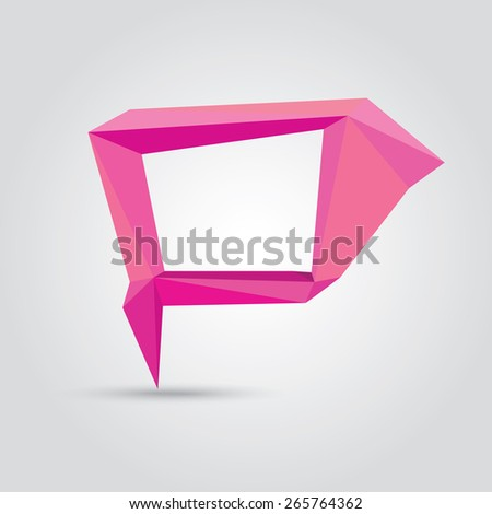 summer pink Conceptual polygonal geometric speech bubble. Abstract vector Illustration, low poly style paper. Stylized design element. Background design for banner, poster, flyer, cover, brochure. - stock vector
