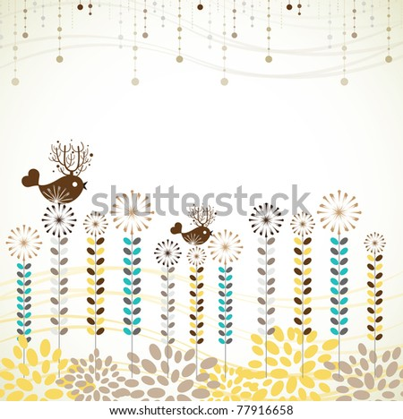 Summer plant background with lovely bird (label,card,sticker,invitation card, wrapping paper or wall paper)