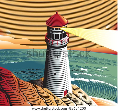 Summer Point Lighthouse - stock vector
