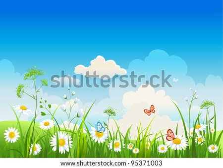 Summer positive  landscape - stock vector