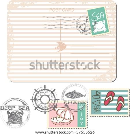 summer postage set - stock vector