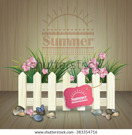 summer poster. summer background with  white  fence and flowers on  wooden texture - stock vector