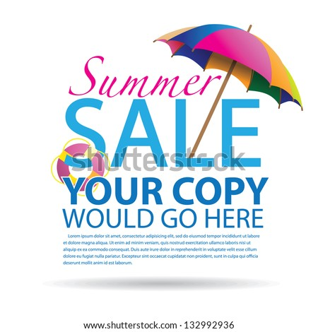 Summer promotional design element.  EPS 8 vector, grouped for easy editing. No open shapes or paths. - stock vector