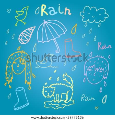 Summer rainy day vector design - stock vector
