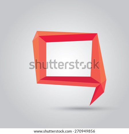 summer red Conceptual polygonal geometric speech bubble. Abstract vector Illustration, low poly style paper. Stylized design element. Background design for banner, poster, flyer, cover, brochure. - stock vector