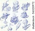 summer refreshment doodles - stock vector