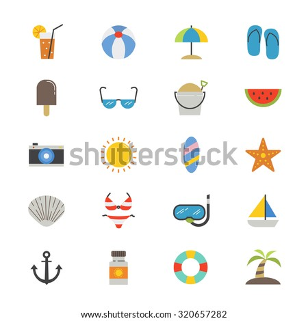 Summer Relax and Beach Flat Icons color - stock vector