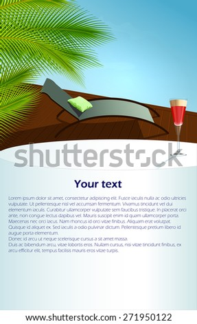 Summer relax concept : pool and cocktail - stock vector