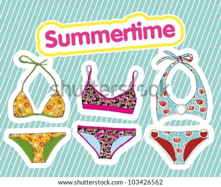 Summer retro set of swimsuit - stock vector