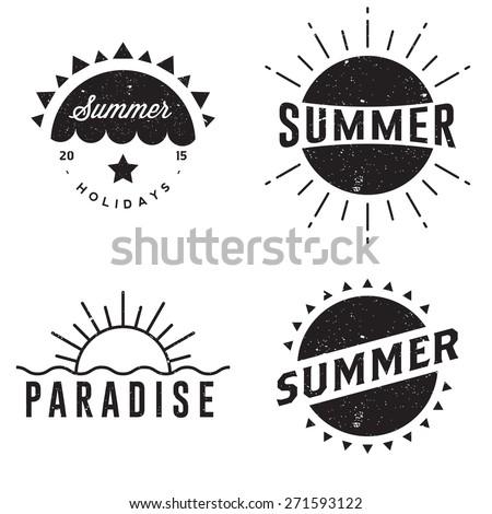 Summer retro vintage badges - stock vector