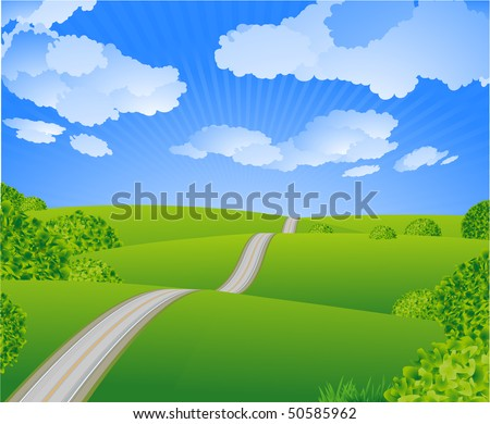 Summer road. Vector. - stock vector