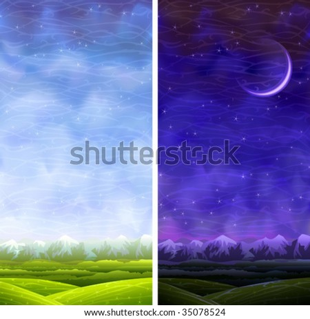 Summer rolling vertical day and night landscapes (other images from this series are in my gallery) - stock vector