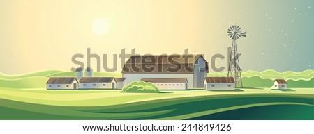 Summer rural farm landscape. Ranch.  - stock vector