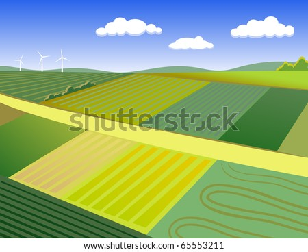 summer rural landscape - stock vector