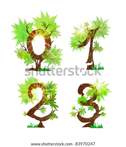 summer's organic numbers - stock vector