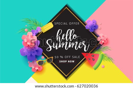 Summer sale background layout for banners. voucher discount.Vector illustration template.