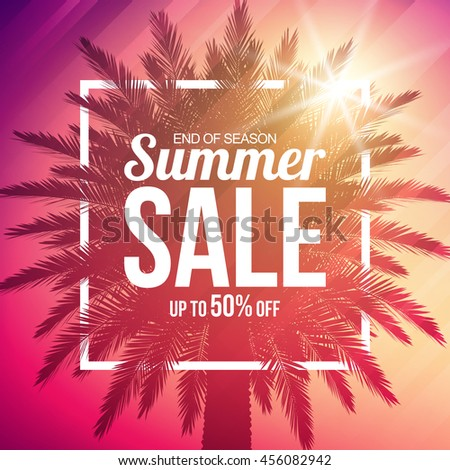Summer sale background with palm. Vector background for banner, poster, flyer, card, postcard, cover, brochure. - stock vector