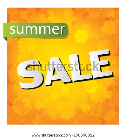 summer sale background with Paper Folding Design - stock vector