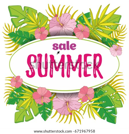 Summer Sale Background With Tropical Palm Leaves Vector Illustration For Wallpaper Flyers Invitation