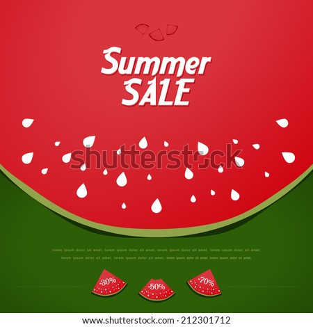 Summer Sale Background with watermelon. - stock vector