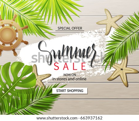 Summer sale banner, poster with tropical plants, leaves, wheel and starfish on wooden board . Vector illustration