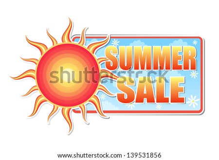 summer sale banner - text in blue label with red yellow sun and white daisy flowers, business concept, vector - stock vector