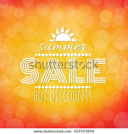Summer Sale Banner With Bokeh, With Gradient Mesh, Vector Illustration - stock vector