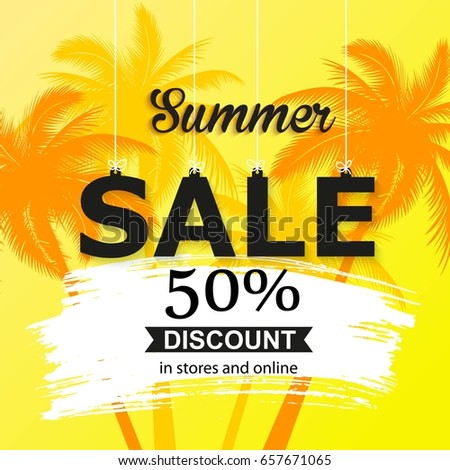 Summer Sale Banner With Palm Leaves Bright Color Wallpaper Flyer Brochure Or Voucher