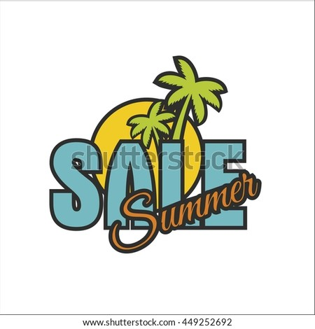Summer sale banner with palm tree - stock vector