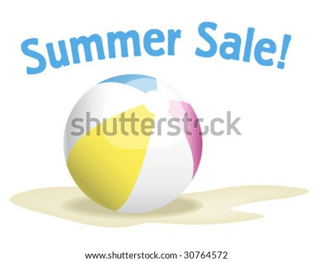 Summer Sale Beach ball - Vector Illustration - stock vector