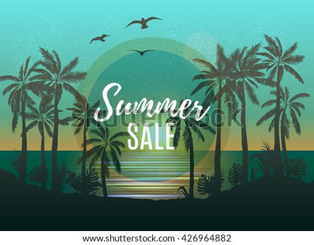 Summer sale beach design with tropical backdrop. Tropical palm backgound. Vector Design EPS 10