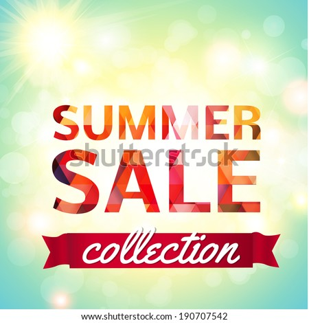 Summer Sale collection. Vector background with sun, chamomile, grass and ribbon. Text design. - stock vector