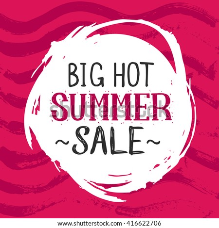 Summer Sale Design brush hand drawn Background for Summer Seasonal Promotion. Vector colorful Illustration.  - stock vector
