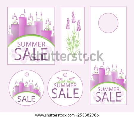 Summer sale design template with shopping bags and lavender. - stock vector