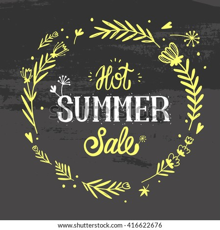 Summer Sale Design with Colorful Flowers in Background for Summer Seasonal Promotion. Vector Illustration.  - stock vector