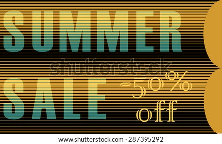 Summer Sale Inscription. Striped  Yellow Blue Letters. Vector Illustration