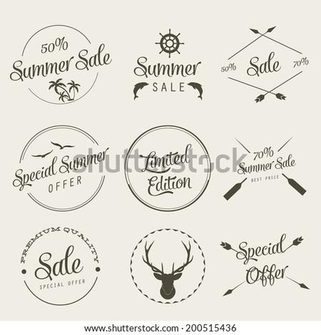 Summer sale labels set - stock vector