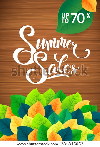 Summer sale leaves promotion poster. Card template. - stock vector