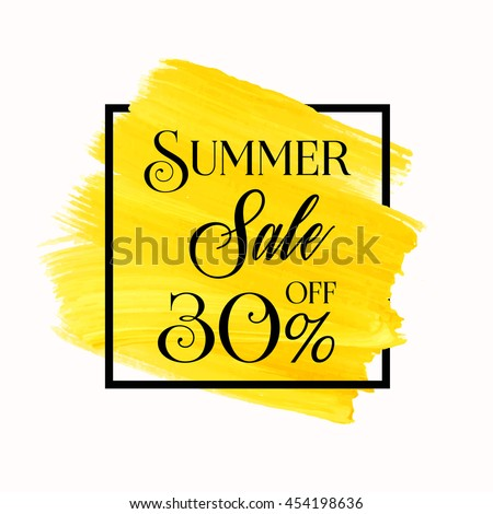 Summer sale 30% off sign over grunge brush art paint abstract texture background acrylic stroke poster vector illustration. Perfect watercolor design for a shop and sale banners.