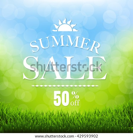 Summer Sale Poster With Grass Border, With Gradient Mesh, Vector Illustration - stock vector