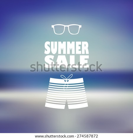 Summer sale poster with man shorts and sunglasses. Beach blurred background flyer for promotion, advertising. Eps10 vector illustration. - stock vector