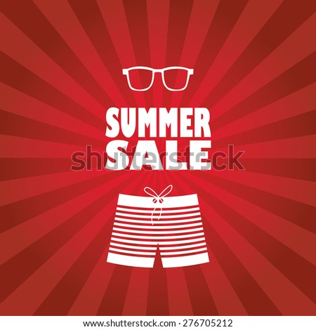 Summer sale poster with man shorts and sunglasses. Red rays stripes background flyer for promotion, advertising. Eps10 vector illustration. - stock vector