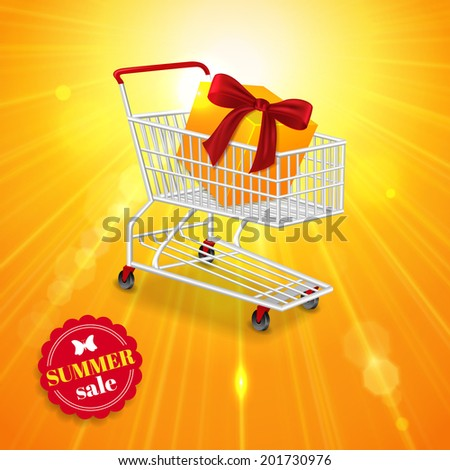 Summer sale shining background.  Yellow summer sun light burst, photorealistic shopping cart with gift box and place for text. Vector illustration. - stock vector