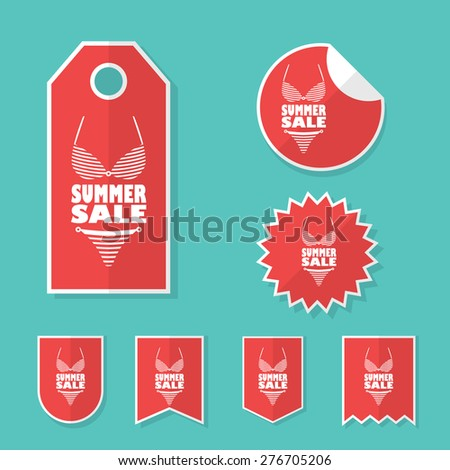 Summer sale stickers with sexy woman bikini. Red flat design shopping elements for promotion, advertising. Collection of price tags. Eps10 vector illustration. - stock vector