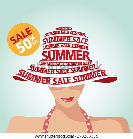 Summer Sale,Swimming Suit,Shopping and Typography - stock vector